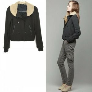 rag & bone Brown Shearling Collar Jacket Small